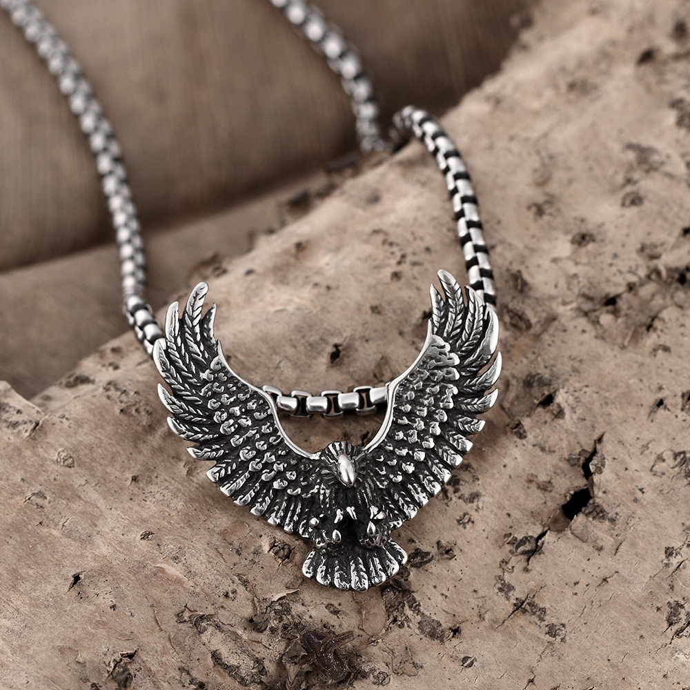 Top quality 316l stainless steel eagle pendant necklace bikes