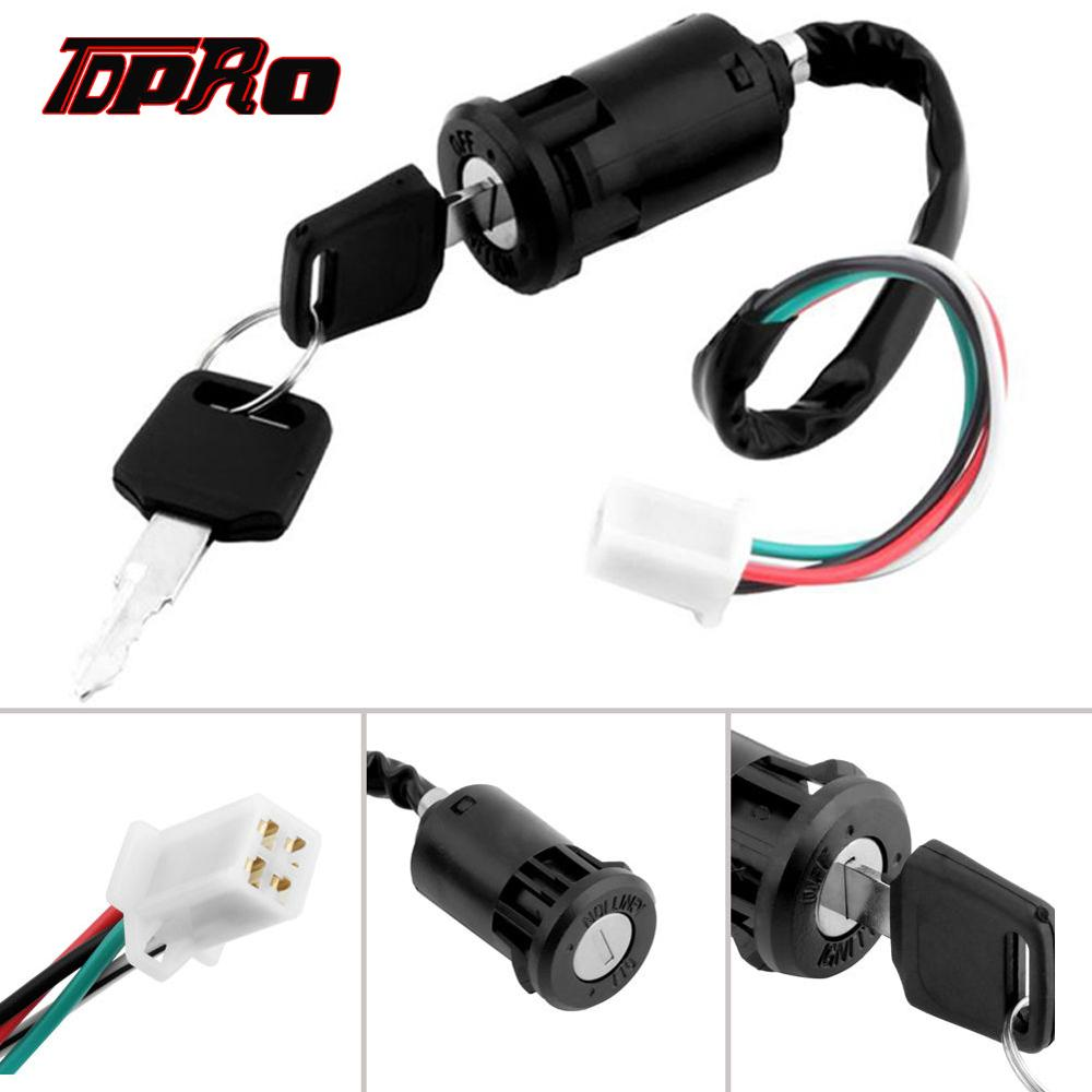 TDPRO Universal Motorcycle 4 Wire Ignition Key Switch Lock For Chinese Quad ATV 50cc 70cc 90cc 110cc <font><b>125cc</b></font> Dirt <font><b>Pit</b></font> <font><b>Bike</b></font> Scooter image