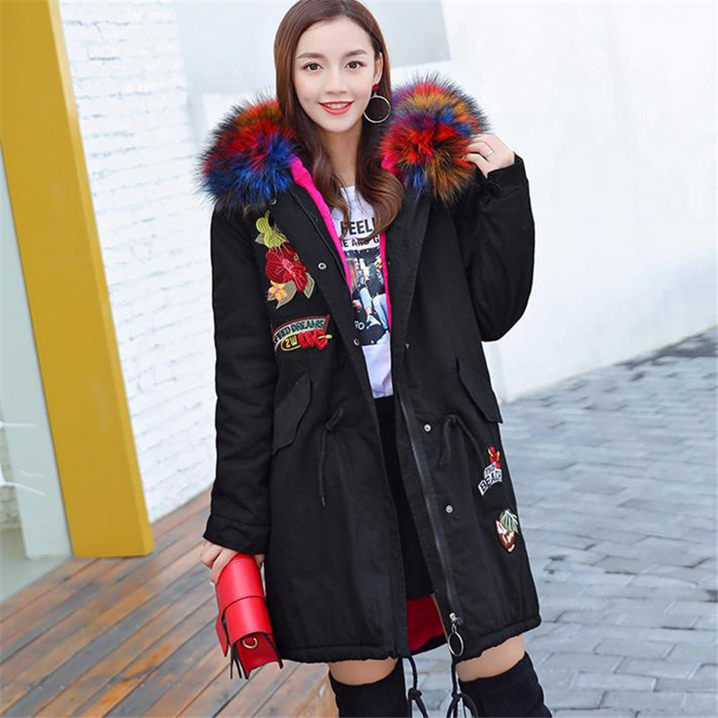 Plus Size Fur Hooded Fleece Lining Parka 2017 New Fashion Women Winter Jacket Long Coat  Warm Clothes Large 3xl 4xl Black Pink new 2015 autumn winter outdoors medium long fleece jacket fur hooded army green parka men thickening coat 10