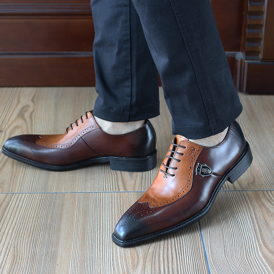 FELIX CHU Italian High Quality Classic Oxford Formal Men Brown Shoes Cow Genuine Leather Office Wedding Dress Shoes #1815-01 blaibilton formal dress men shoes oxford 100