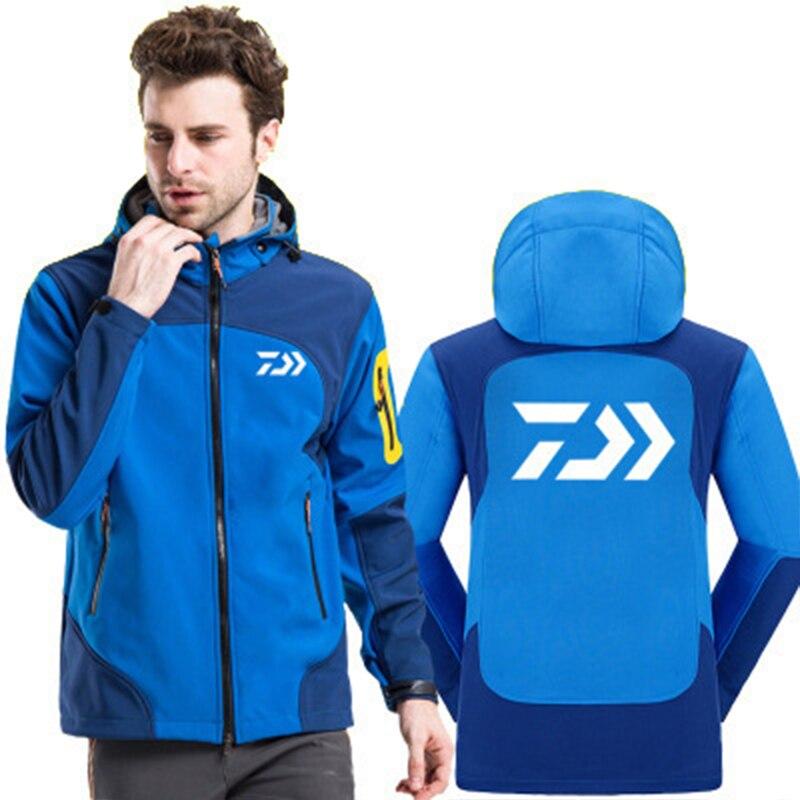 Daiwa veste de pêche coupe-vent à fermeture éclair complète pour hommes coupe-vent léger Softshell veste d'extérieur avec capuche