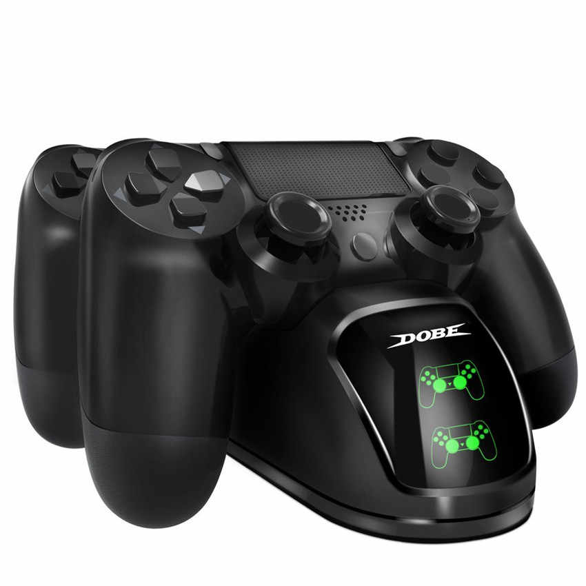 PS4 Charger Pengisian Dock Station Dual USB dengan Indikator LED Joystick Gamepad Charger untuk PlayStation 4 Slim/Pro controller