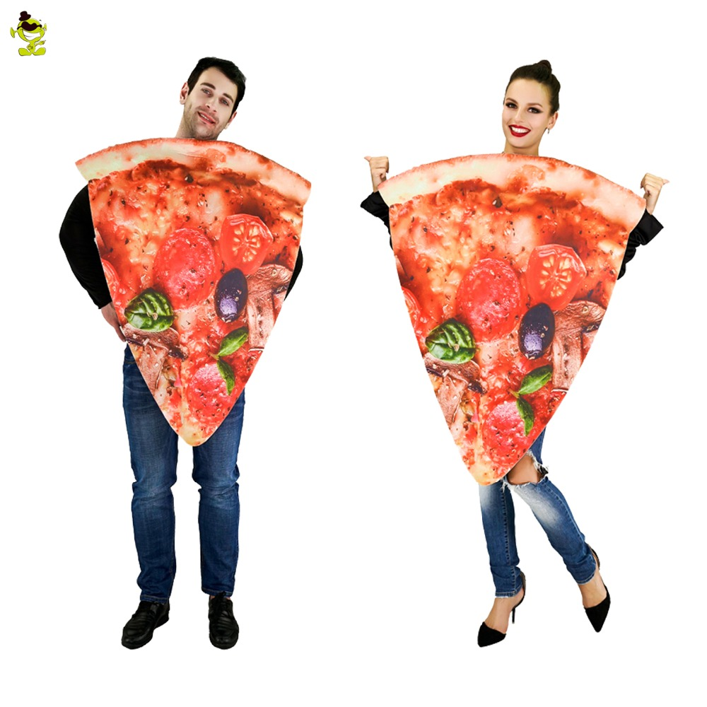 2018 New Couple Jumpsuit Halloween Party Festival Pizza Costumes Adult Cartoon funny costumes Women Men Food Jumpsuit Role Play