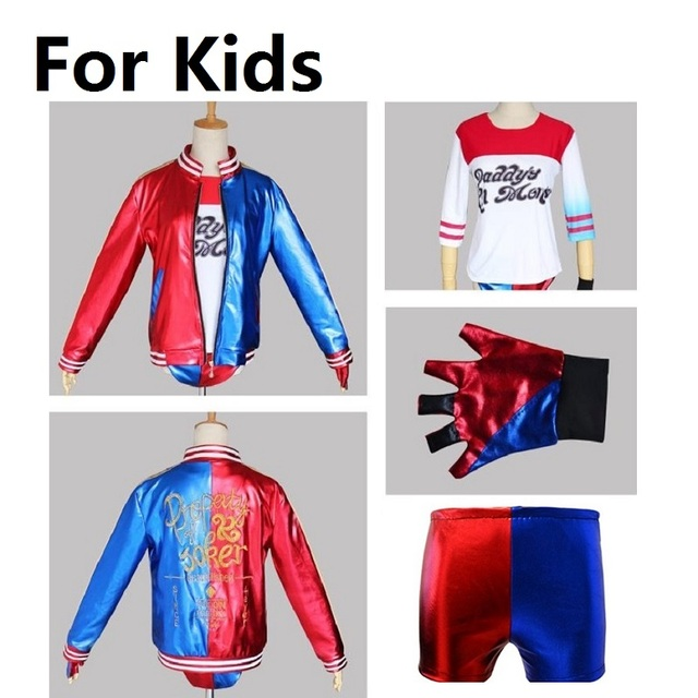 Classic joker e harley quinn costume giacca per le ragazze scherza suicide  squad della ragazza dei 407e0e05c57