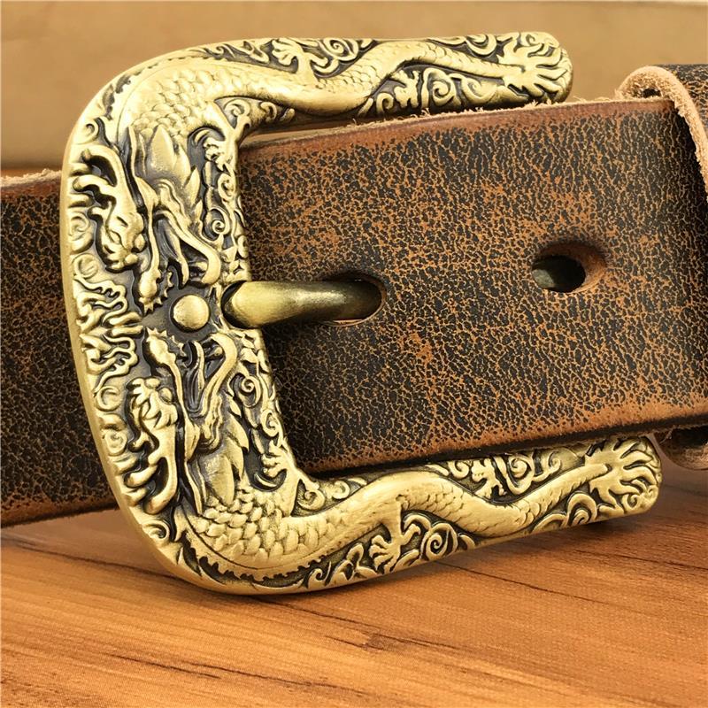 Brass Double Dragon Belt Buckle Men Belt Cowboy Jeans Belts Men Leather Male Strap Wide Ceinture