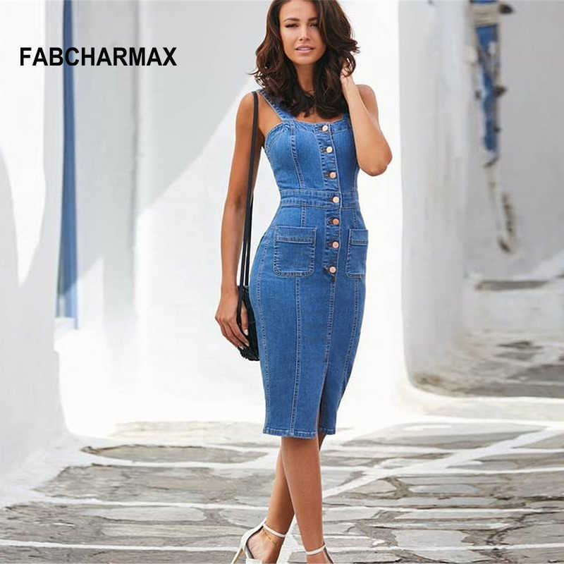 b02cd39252 buttons casual denim bodycon dress summer outfits for women sleeveless sexy  strap jeans dress midi overall