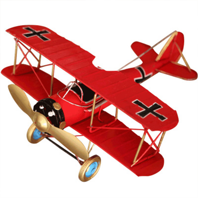 Creative Vintage Metal Airplane Figurines Ornaments Aircraft Model Fighter Miniatures Home Decor Accessories Children Toys Gifts image