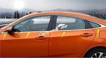 Нижняя хромированная отделка окна 8 шт. для Honda Civic 10th Gen 4dr Sedan 2016-2018