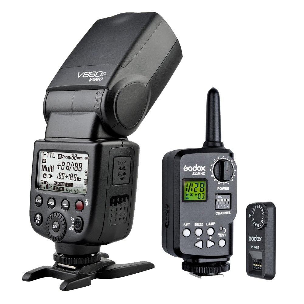 Godox V860N Flash Speedlite Li-ion Battery With FT-16S Wireless Power Control Trigger For NIKON D7000 D7100 D800 D5300 D3200 aputure 16 channel flash speedlite
