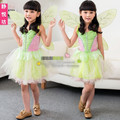 2015 Leg Avenue Neverland Tinkerbell Garden Fairy kids halloween Costume woodland fairy dress Novelties Green elf Sprite dress
