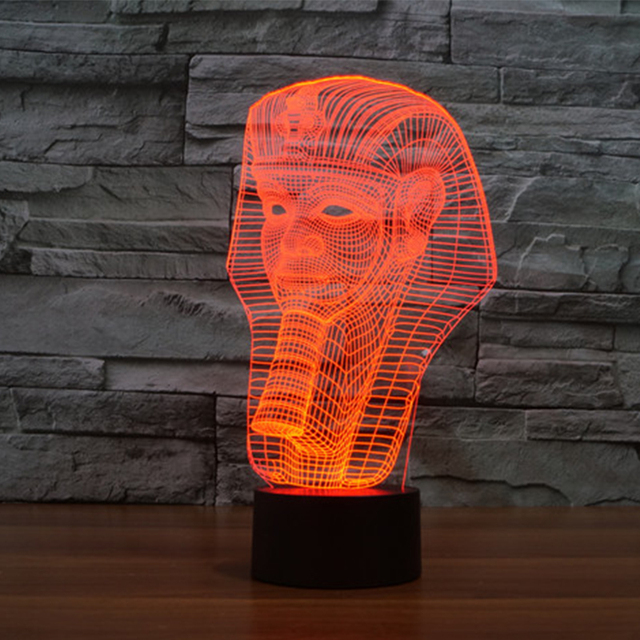 7 color Holiday Atmosphere Decorative Kids gift Pharaoh Style 3D Ilusion LED Night Light