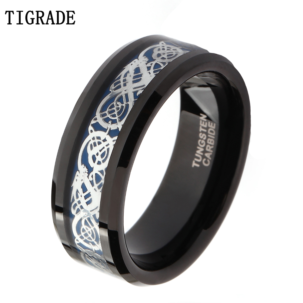 8mm Black Tungsten Carbide Ring Men Silver Celtic Dragon Inlay Polished Finish Edge Wedding Band Fashion Jewelry Comfort Fit cheap men wedding bands