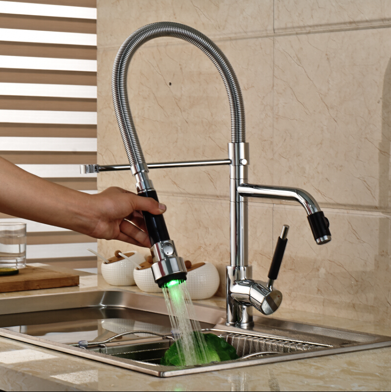 ФОТО LED Lights Chrome Kitchen Single Handle Mixer Tap Deck Mount Hot &Cold Water Sink Faucet