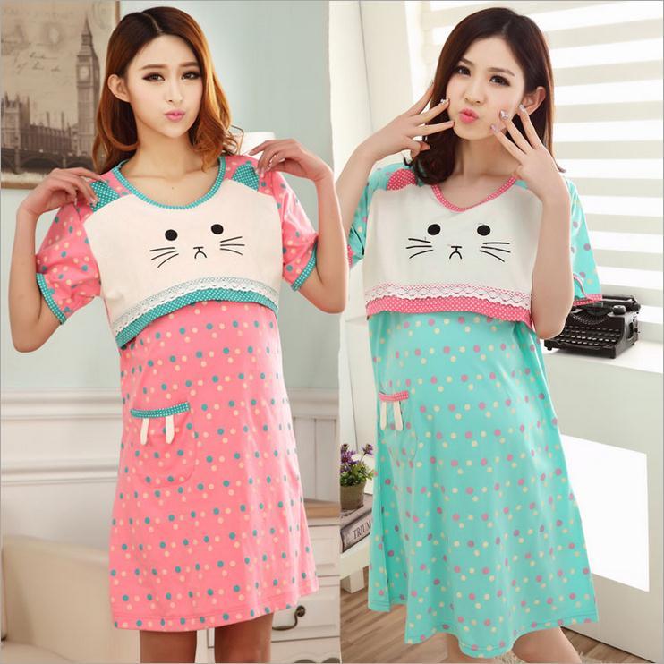 new Breastfeeding Nursing dresses Maternity cotton Clothes for Pregnant Women Sleep & Lounge lactation clothing feeding pajamas