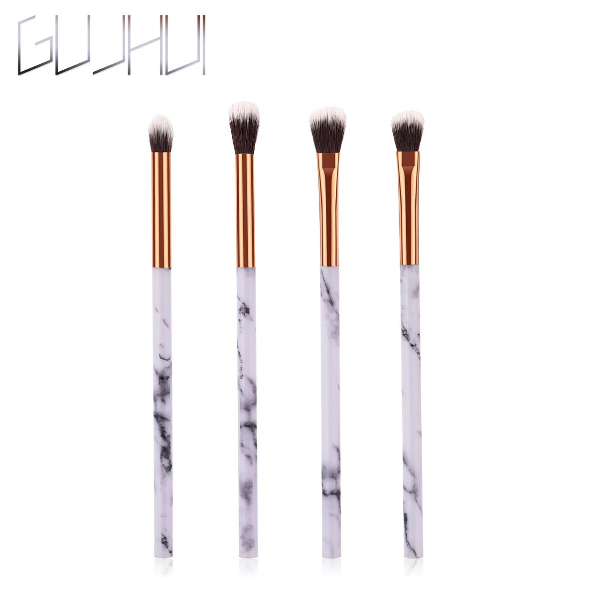 GUJHUI глаз 4 шт./компл. кисти для макияжа с Мрамор текстуры ручка Мода нейлоновые волосы Косметические Инструмент тени для век макияж инструме...