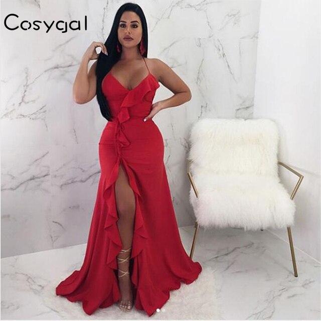 COSYGAL New Deep V Neck Sexy Women Dress Strap Backless Ruffle Dresses Long  Maxi High Slit e0a510a9f2db
