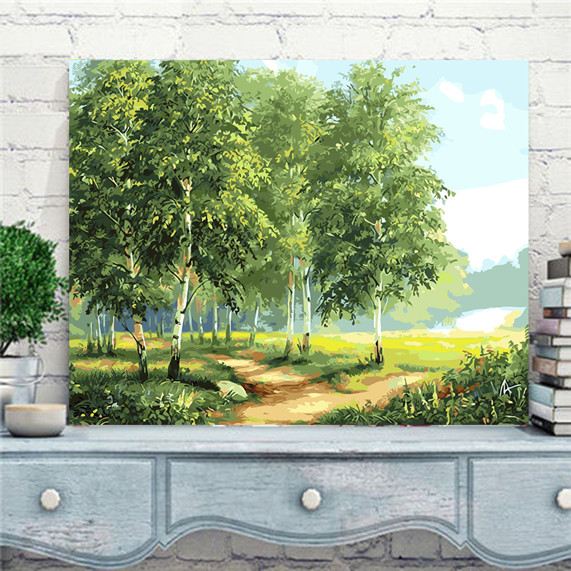 2017 new Green birch tree new oil painting by numbers hand painted canvas coloring by numbers home decor pictures gift AL029
