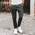 Simwood 2017 nova chegada da primavera verão calça casual moda calças de comprimento slim fit kx5547