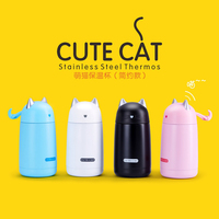 330ml Simple Creative Cute Cat Insulation Bottle Stainless Steel Seal Thermo Kettle Portable Hands Couple Student
