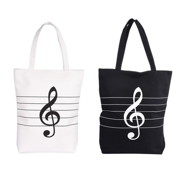 Musical Bag Single Note Handbag Useful Cotton And Linen G Clef Style Music Support