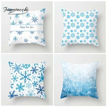 Fuwatacchi Winter Style Cushion Cover Christmas Pillow Case Snow Home Decorative Deer Tree White Pillows Cover For Sofa Car