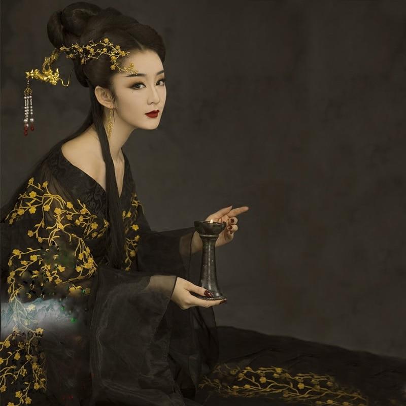 Jin Ping Mei Women's Hanfu Black Gold Plum Sexy Costume Photo House Thematic Photography Costume Tang Empress Performance Hanfu