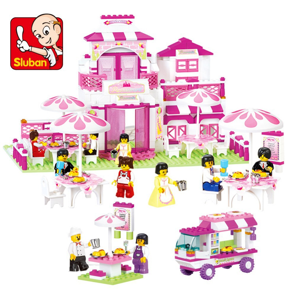 ФОТО Sluban castle Building Blocks Set learning educational bricks DIY cube construct pink house car toys compatible with legoe