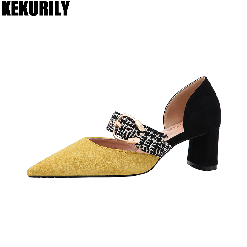 Shoes Woman Mixed color pointed toe Pumps buckle High Heels Sandals flock slip on Slides Zapatos mujer Black yellow apricot red shoes woman flock metal decoration pumps high heels sandals slip on pointed toe shoes shallow balck red pink gray khaki green