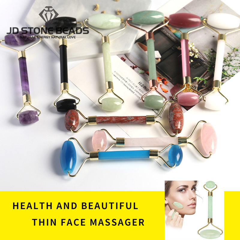 Natural Mixed Material Stone Massage Roller Sesame Stone Pink Quartz Yellow Jade Cat Eye Stone Face-lifting Massage Tool Gemston