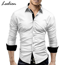 LeeLion 2018 Spring Long Sleeve Shirt Men Hit Color Slim Fit Dress Shirts Fashion Casual Black White Camisa Masculina Plus Size(China)