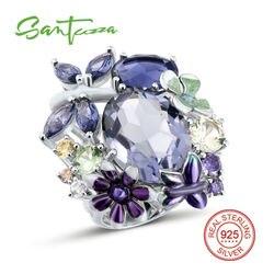 Anillo de plata de santuza para mujer Plata de Ley 925 pura brillante anillo morado increíble joyería de moda esmalte hecho a mano