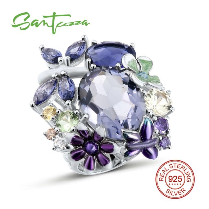 SANTUZZA bague en argent pour femmes pur 925 argent Sterling brillant massif incroyable anneau violet bijoux de mode émail fait à la main