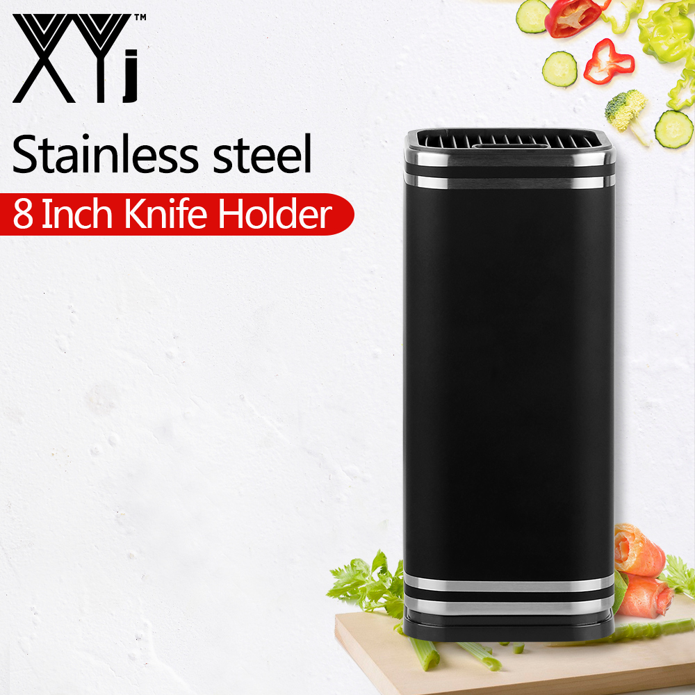 XYj Brand 8 Inch Black Knife Stand Large Capacity Stainless Steel Knife Holder Kitchen Tool Stainless Steel+PP Knife Stand