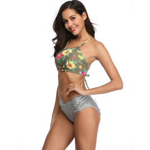 ECTIC Womens Push Up Bikini Two Piece Print Sexy Split Swimsuit Brazilian Beachwear Shoulder Bathing Suit