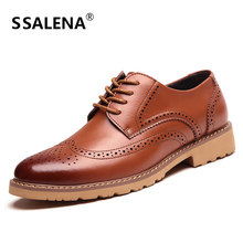 Men Leather Lace-Up Dress Shoes Male Comfortable Brogue Shoes Men Shoes Casual Business Wedding Shoes AA51511