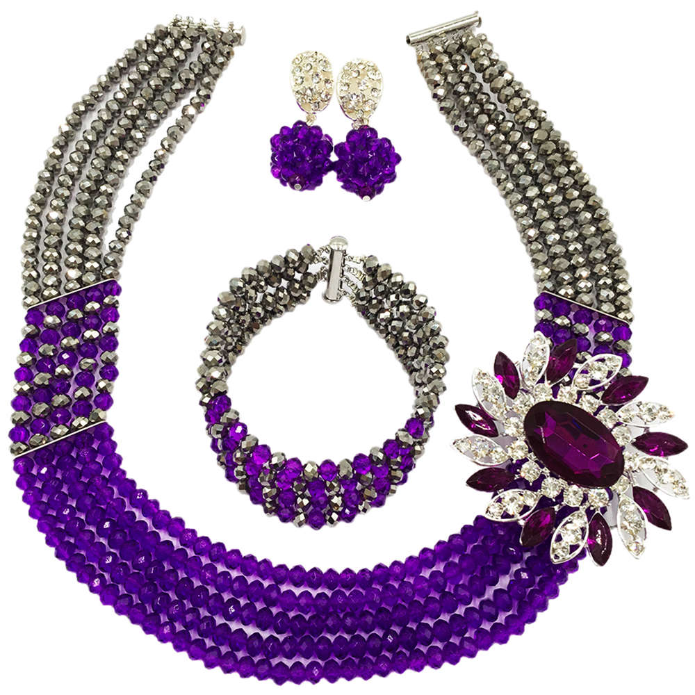 Fashion Purple Silver African Beads Necklace Nigerian Wedding Jewelry Set 5C-SXJB029