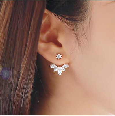 2018 New Zircon Pha Lê Ear Cuff Clip Lá Stud Bông Tai Cho Phụ Nữ Áo Khoác Piercing Bông Tai Trang Sức Mỹ Brincos