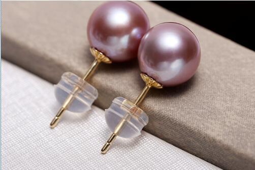 Charmante paire de boucles d'oreilles en perles de lavande rondes AAA 10-11mm>>> bijoux femmes filles livraison gratuite - 2