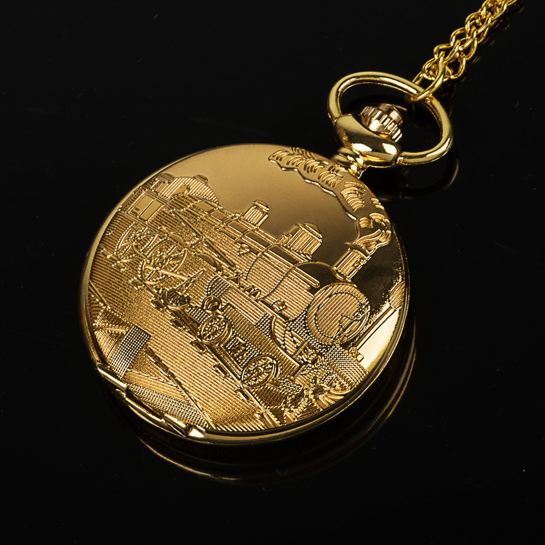 Vintage Gold Locomotive Motor Railway Train Steampunk Pocket Watch For Men Women Charming Pendant Necklace Clock Relogio Bolso