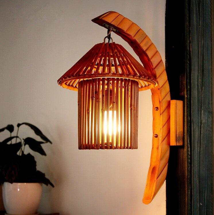 Beducht Zuidoost-azi Ë Cottage Romantische Bamboe Hand Made Muur Lampen Landelijk Nostalgische E27 Led Licht Voor Vestibule & Gang & Veranda & Bar Ldk011 Chinese Smaken Bezitten
