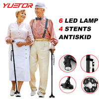 YUETOR 2016 Ultra Light Handle Dependable Folding Cane With Built In Light Walking Cane Adjustable Hiking