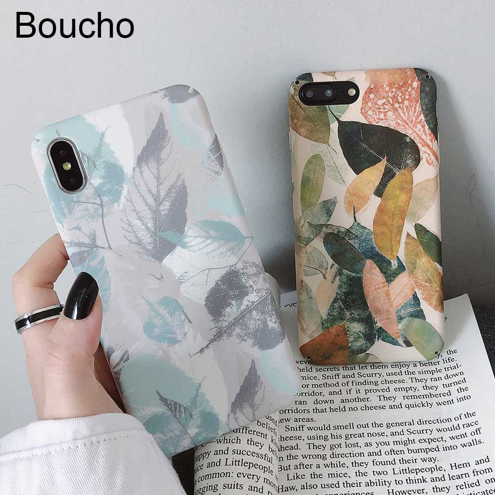 Boucho Vintage Flowers Floral Phone Cases For iphone XR XS MAX X Fashion Matte Case For iphone 8 7 6 6s plus Hard Plastic Cover