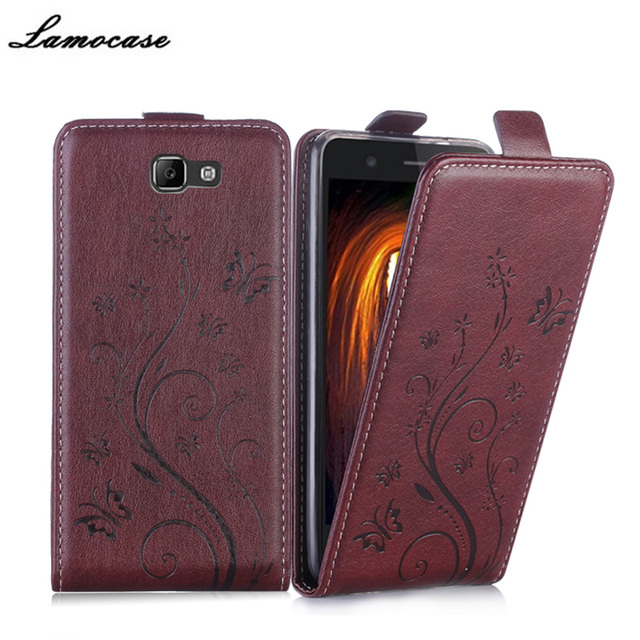 Lamocase Brand Leather Case For Samsung Galaxy On7 2016 SM-G6100 Embossing Cover For Samsung On7 2016 / J7 Prime SM-G610F JRYH