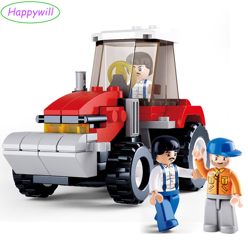 Happywill 0556 103pcs/lot Happy Farm Building Blocks Sets Animal Model Bricks Farmer tractor Compatible with toys