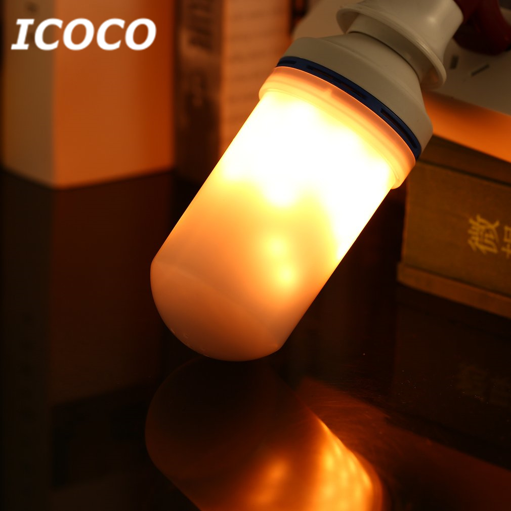ICOCO E27 105 LEDs 6W AC85-265V LED Flame Bulb 3 Gear Mode Simulation Flame Dynamic Lighting Flickering Effect Night Light Sale