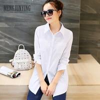 MJY 2017 Newest Plus Size Shirt Women White Cotton Blouse Fashion Long Sleeve Ladies Solid Women