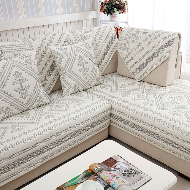 1pcs plaid pattern sofa cover european style embroidered - Stoffe x divani ...