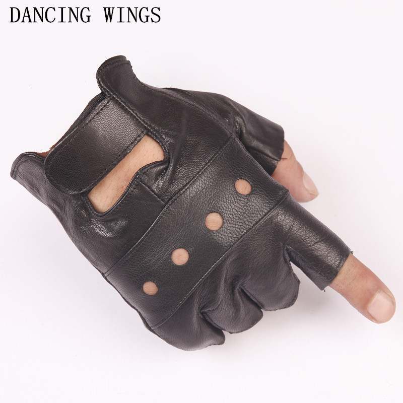 2Pairs/Pack Goatskin Men's Tactical Half-finger Gloves Outdoor Sports Motorcycle Ridding Cycling Gloves