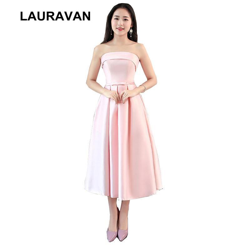 girls bridesmaids party short satin strapless faironly tea length party dresses light pink bridesmaid girl dress wedding