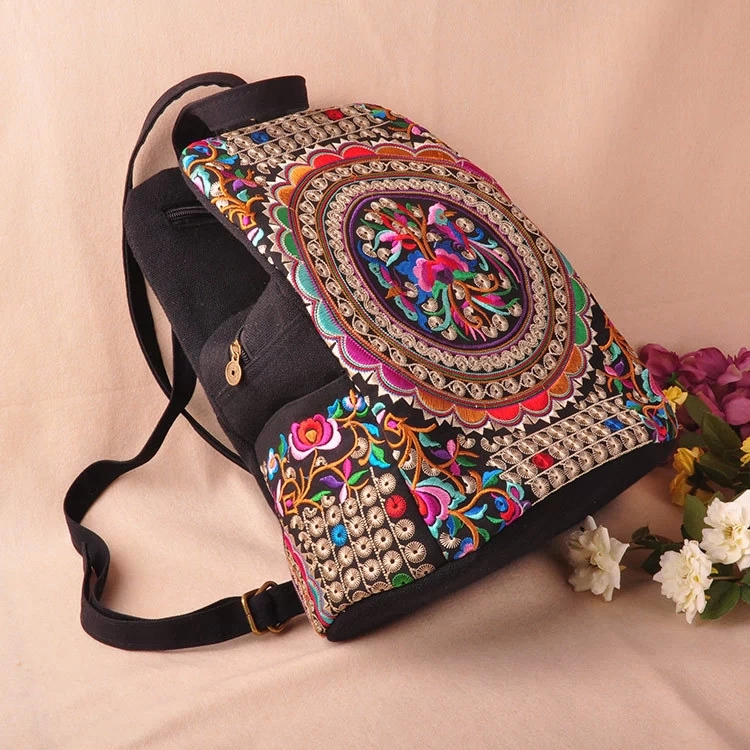 WCS-canvas Embroidery Ethnic Backpack Women Handmade Flower Embroidered Bag Travel Bags Schoolbag Backpacks Mochila